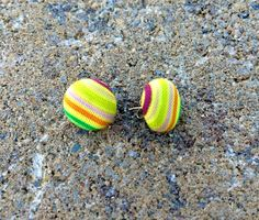 Rainbow Striped Fabric Earrings Mini's by JamieGregoryHandmade
