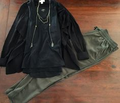 Layered Tank in Black - The Loft. Soft Pant in Olive Green  - The Loft. Open Front Cardigan in Black - The Loft. Necklace  - The Loft.