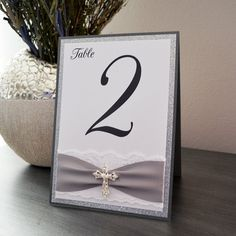 Cross Table Number - Baptism Table Number - Charcoal Gray and Silver Glitter Tented Table Card with White Lace and Silver Crystal Cross