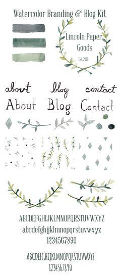Watercolor Branding and Blog Kit - Graphics - 1
