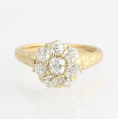 Edwardian Diamond Ring Tiffany & Co. 1.02ctw VS1-2 - 18k Yellow Gold Halo Floral