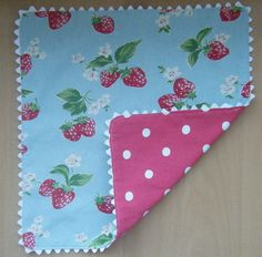 Strawberry Fabric Napkin. I have some similar strawberry fabric in my stash that will make sweet spring napkins, love these!