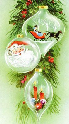 Mid-century Modern Christmas Card. Santa trapped in ornament. Christmas Candles trapped in Ornament! Watch out Christmas Tree! Vintage Christmas Card. Retro Christmas Card.