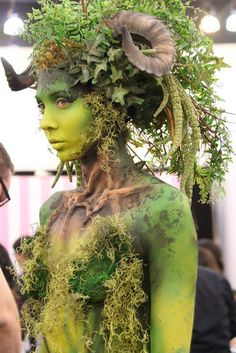 Cool earthy, organic fantasy creature Halloween costume idea - Tree sprite or forest nymph? Kryolan HD, BodyArt and Special FX make-up at IMATS LA.---wow awesome!