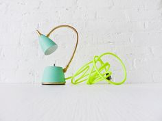This is amazing - Vintage Lamp - Mint Green Gooseneck w/ Neon Yellow Net Cloth Color Cord.