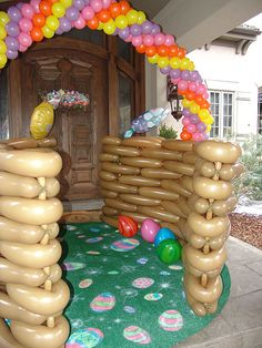 easter bunny balloons the front door basket :)  WOW!  That's a lot of work!