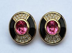 signd CHRISTIAN DIOR Germany Clip-on EARRINGS black enamel Rhinestones Pink gold #ChristianDior