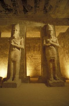 Interior of two statues at the Temple of Ramses II in Abu Simbel