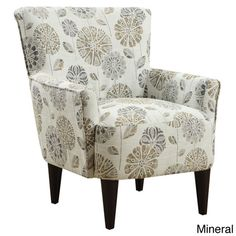 Attirant Flower Power Accent Chair (Cascade Pewter Flower Power Accent Chair), Grey  (Polyester)