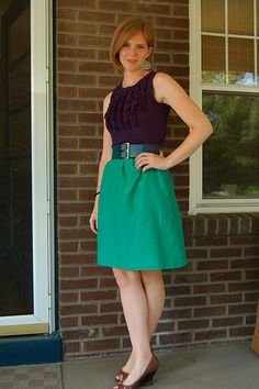 summer office chic. a-line skirt, belt, tank