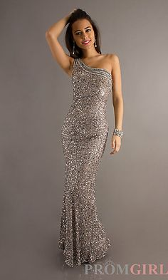 Long One Shoulder Open Back Sequin Dress by Scala 47541 at PromGirl.com