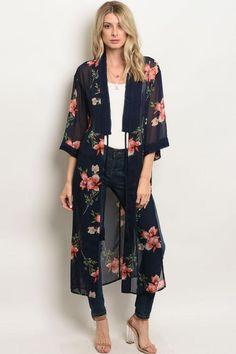 145 amazing summer outfits to impress everyone – page 1 Long Kimono Outfit, Kimono Diy, Long Floral Kimono, Floral Kimono Outfit, Kimono Style, Kimonos Fashion, Boho Fashion, Fashion Outfits, Casual Work Outfits