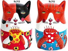 Cat Collectibles: >Colorful Ceramic Banks Sharon Bloom's colorful ...