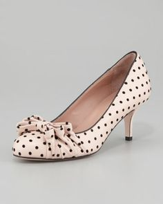 Polka-Dot Bow Pump, Cream/Black by RED Valentino at Neiman Marcus.