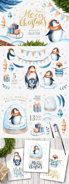 Watercolour penguins. Wedding Card Templates. $11.00