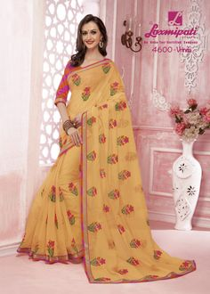 Impress all with your amazing look by draping this peach resham work with golden zari lace border along with pink & orange pashmina blouse. Laxmipati Sarees, Embroidery Saree, Saree Shopping, Lace Border, Draping, Daily Wear, Bridal Collection, Kurti, Peach