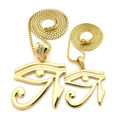 Eye Of Ra Hip Hop Small Micro Pendant Chains Set Gold - Bling Jewelz