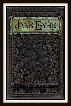"""Portada del libro vintage """"Jane Eyre"""" publicado alrededor de 1900 por Charlotte Bronte - arte Giclee en lona"""