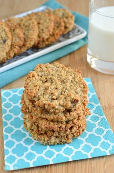 These Gluten Free Banana Oatmeal Cookies contain only 5 ingredients and are delicious with a glass of ice cold milk. The whole family will love these.