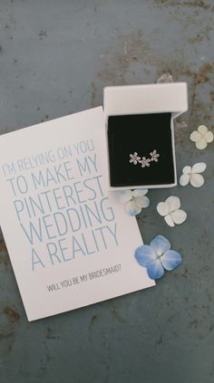 Will you make my Pinterest wedding a reality? Cute note and gift for your bridesmaids. #PANDORA #PANDORAring  Image by @RockMyWedding,   Photographer Anna Clarke.
