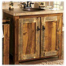 Barn Wood Bathroom, Bathroom Vanity Decor, Rustic Bathroom Vanities, Bathroom Sets, Downstairs Bathroom, Pallet Bathroom, Bathroom Storage, Rustic Vanity, Bathroom Cabinets