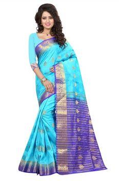 blue printed art silk saree with blouse - FASHION - 1569388 Art Silk Sarees, Sari, Blouse, Prints, Beautiful, Design, Fashion, Saree, Moda