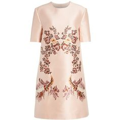Women's Stella Mccartney Floral Embroidered Satin Shift Dress (2,515 CAD) ❤ liked on Polyvore featuring dresses, a line dress, pink shift dress, shift dress, satin dress and floral embroidered dress