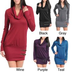 Stanzino Women's Cowl Neck Buckle Detail Sweater Dress | Overstock.com