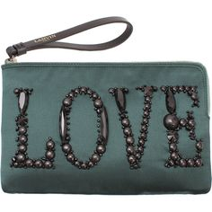 LANVIN Love Embroidered Satin Clutch ($670) ❤ liked on Polyvore featuring bags, handbags, clutches, purses, accessories, bolsas, green, man bag, satin handbags and green handbags