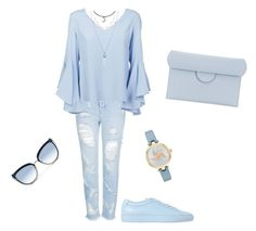 """""""Light blue monochrome"""" by lucyshoots ❤ liked on Polyvore featuring Topshop, Common Projects, Dondup, Kate Spade, Roksanda and Karl Lagerfeld"""