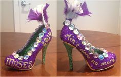 My Muses Shoes (for Confessions of a glitter addict: Ain't Dere No More Shoe Bling Shoes, Glitter Shoes, Purple Glitter, Glitter Force Costume, Muses Shoes, Mardi Gras Centerpieces, Stiletto Heels, High Heels, Slippers