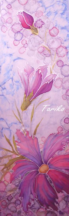 """Hand painted silk scarf """"Tenderness"""" - silky feel for special moments, silky touch for beloved wife"""