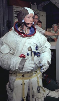 Astronaut Anna Fisher suited up for training in the Neutral Buoyancy Simulator at Marshall Space Flight Center in Alabama, May 8, 1980. (NASA)