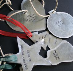 Hand Stamped Ornaments  3 Custom and by sierrametaldesign on Etsy, $36.00