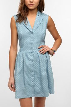 Lucca Couture Chambray Polka Dot Shirtdress - Not normally my style, but the fabric works with the cut of the dress!