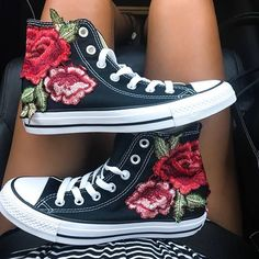 689495a41e8c Rose Embroidered High Top Converse All-stars Floral Shoes
