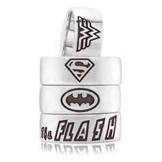 Superhero stackable rings with the emblems of The Flash, Batman, Superman and Wonder Woman are the newest craze from Guild Jewellery Design.