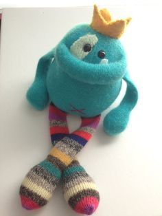 Cashmere King Smug Monster- plush toy upcycled from sweaters- OOAK on Etsy, $35.00