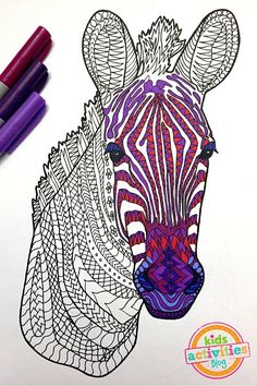 Printable Adult Coloring Page – Zebra Zentangle! Gorgeous and colorful, free download. Isn't it beautiful?
