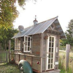 Old truck bed or trailer turned into a shed, greenhouse, or getaway!