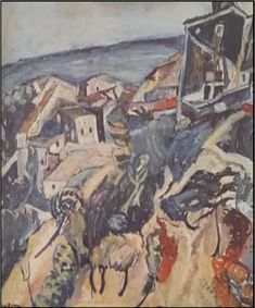 Houses by the Sea, 1918 by Chaim Soutine. Expressionism. landscape. Private Collection