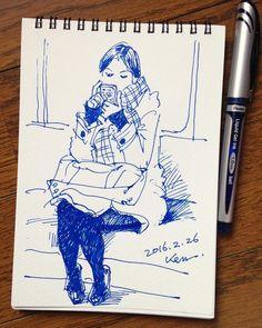 ・ ・ 電車の中でスケッチ 15分 ・ #スケッチ #クロッキー #スケッチブック #絵 #電車 #sketch #croquis #sketchbook #art #drawing #train ・