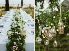 Lush green table runners and hanging gem lights from Bali destination wedding photographed by Samm Blake from The Wedding Artists Collective Wedding Locations, Wedding Themes, Wedding Designs, Wedding Events, Weddings, Palm Beach Wedding, Bali Wedding, Wedding Dinner, Groom And Groomsmen Suits