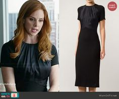 Donna's black short sleeved dress with gathered neck on Suits.  Outfit Details: http://wornontv.net/44866/ #Suits