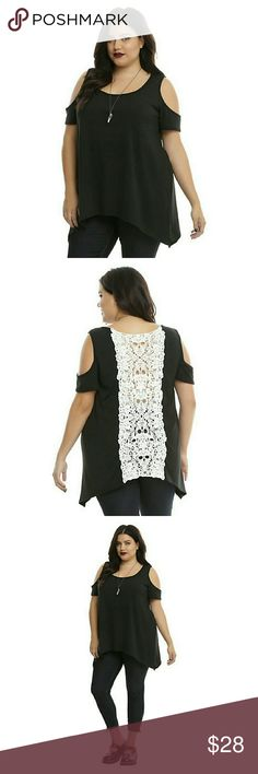 🌸COMING SOON🌸Black & Ivory Crochet Girls Top This shirt is like a mullet, but way better. Looks all business in the front with the plain black cold shoulder top but when you turn around, there's an ivory skull crochet party down the back. Plus a sharkbite hem? It's totally party time.       87% polyester; 10% rayon; 3% spandex     Hand wash cold; dry flat     Made in USA Hot Topic Tops