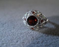 Vintage Sterling Silver 7 Round Garnet 12 Round Opal Fancy Scrolled Etched Filigree Band Ring, Size 6