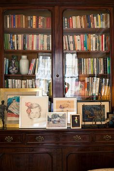 china cabinet turned bookshelf