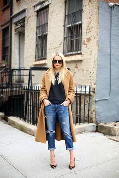 Atlantic-Pacific, wearing camel coat, boyfriend jeans and leopard print heels. #streetstyle #fashion #trend