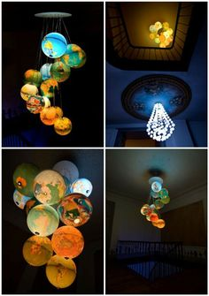 """Beautiful chandelier made of 15 upcycled world globes. This 2m high piece of art was made by Benoit Vieubled and called, """"Monde à l'endroit, Monde à l'envers""""."""