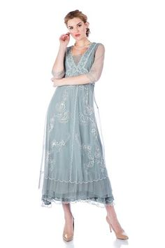 You'll feel like a breath of fresh air when you arrive wearing the Vintage Titanic Style Dress in Aqua by Nataya Vintage Inspired Dresses, Vintage Style Dresses, Mother Of Groom Dresses, Mother Of The Bride, Crepe Dress, Lace Dress, Victorian Fashion, Vintage Fashion, Titanic Dress